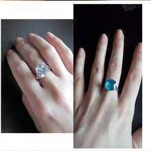 1PC Simple Blue Transparent Color zircon Couple Ring Fashion Finger Rings Dropshipping Men and women jewelry