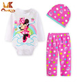 Monkids 2017 otoño ropa de bebé niña bebé cuerpo casual clothing set o-cuello de patrón catoon mono ropa de bebé recién nacido