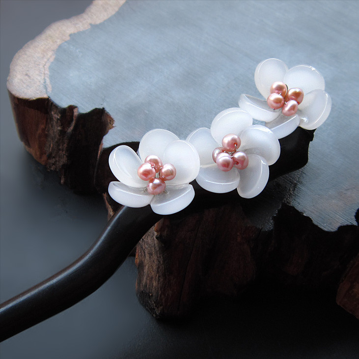 Ebony Hair Stick Fresh Water Pearl Azure Stone Flower Sticks Hair Pin Chinese Jewelry Vintage Wooden Hair Accessories WIGO0792