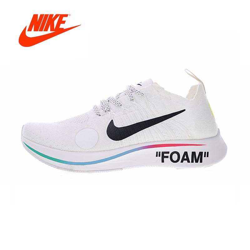 2018 Original Nike Zoom Fly Mercurial Flyknit X Off-White Men's Running Shoes Outdoor Jogging Breathable gym Shoes AO2115-800 бутсы nike mercurial victory iii fg 509128 800