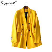 KPYTOMOA Vintage Chic Double Breasted Blazer Coat Women 2019 Long Sleeve Back Vents