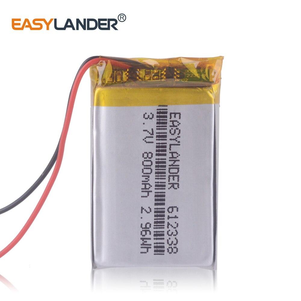 612338 3.7V 800mAh Rechargeable Li-Polymer Battery For MP4 GPS  Toys Dvr570 FD6SG Hd50G TEXET FHD-570 DVR Dvr-3gp Gmini HD50G