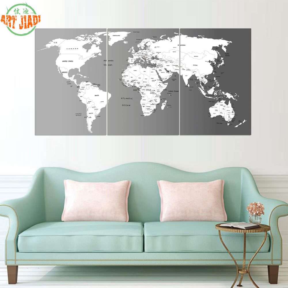 World Map Decorations Us 10 98 New 3 Pieces Sets Canvas Art 3 Panels Push Pin World Map Hd Canvas Paintings Decorations For Home Wall Art Prints Canvasa874 In Painting