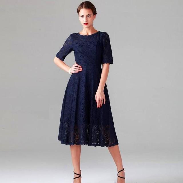 Azul marino vestido de noche de encaje de longitud de té a line madre de los Vestidos de Novia Robe de Soirée 2017 Formales Vestidos Para Ocasiones Especiales