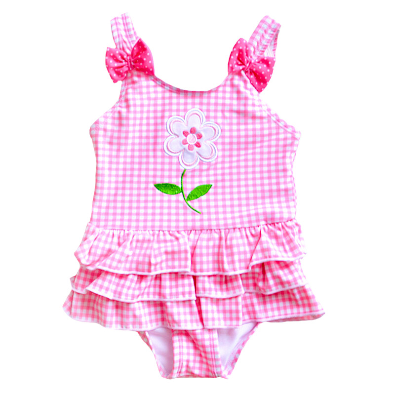 Pink Plaid Baby Girl Swimwear For Hot Spring Sun Flower Toddler One Pieces Swim Suits Children Beach Swimsuit Kids Bathing Suit