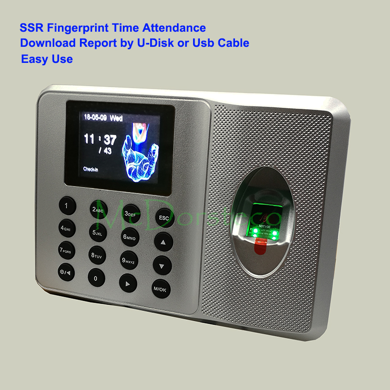 SSR Biometric Fingerprint Time Clock Recorder Attendance Employee Electronic Finger Reader Machine Without Software LX21 XU200