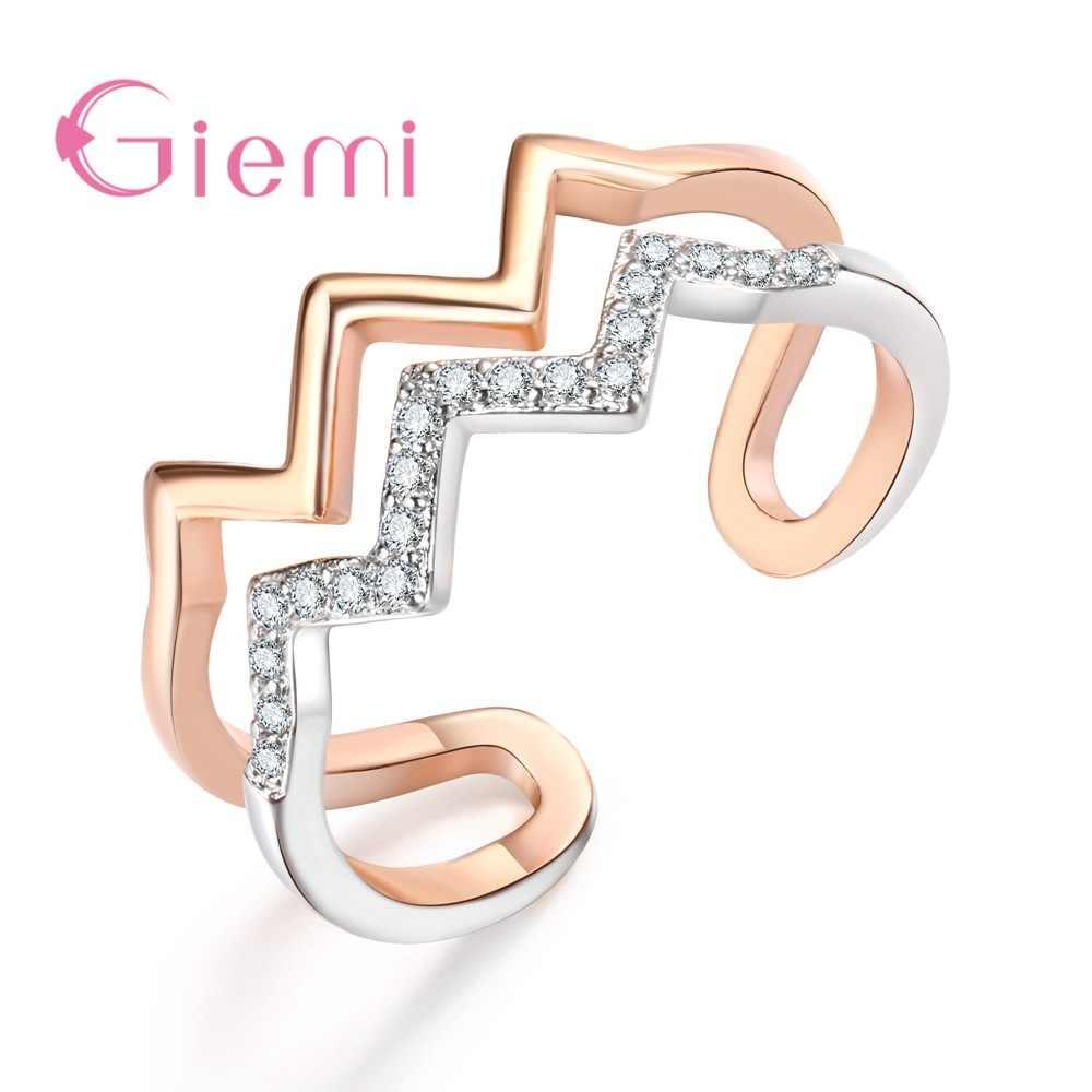Donne Alla Moda Femminile di Apertura Anelli di Barretta Reale Solido 925 Sterling Silver Duro Zircone Cubico In Oro Rosa di Cristallo Dei Monili