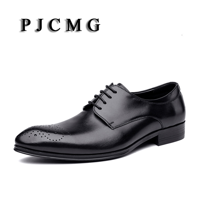 PJCMG Fashion Solid High-end Genuine Leather Oxfords Business Mens Lace-Up Pointed Toe Dress Wedding Mens Rubber Office Shoes top quality crocodile grain black oxfords mens dress shoes genuine leather business shoes mens formal wedding shoes
