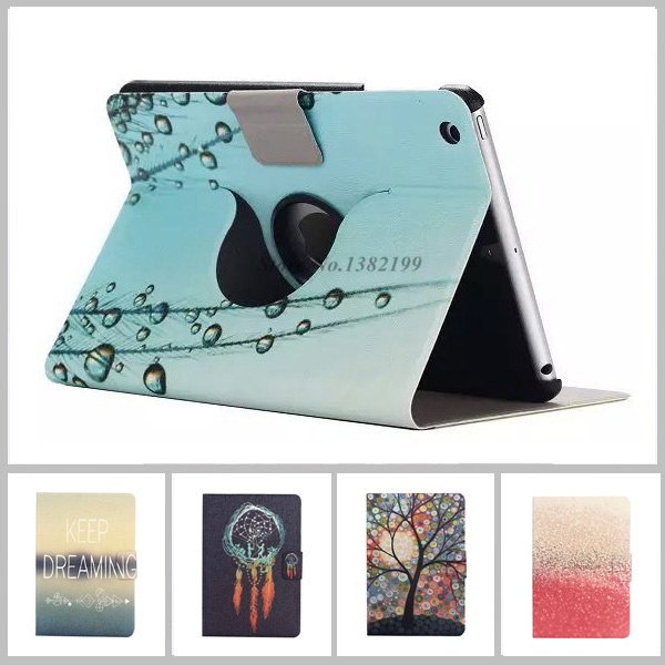 luxury leather case for ipad mini Ultra Thin Flip Stand Book Leather Painted Flower Rotation Cover capa para For ipad mini 2