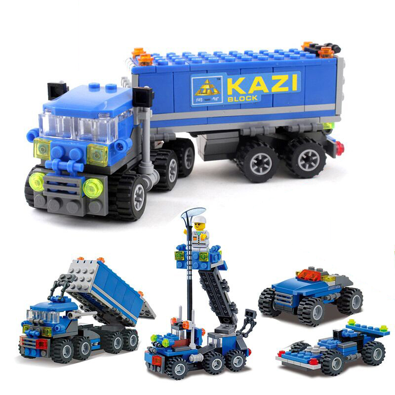 KAZI City Truck Ladder Car Action Model Building Blocks Sets Brick Collectible DIY Educational Toys For Children Gifts Lepin superwit 72pcs big size city diy creative building blocks brick compatible with duplo sets lepin educational toys children gifts