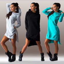 2016 New Arrival autumn Winter Dress Cotton O-neck Long Sleeve Fashion Casual Style Irregular Solid Hooded Women's Dress S-2XL