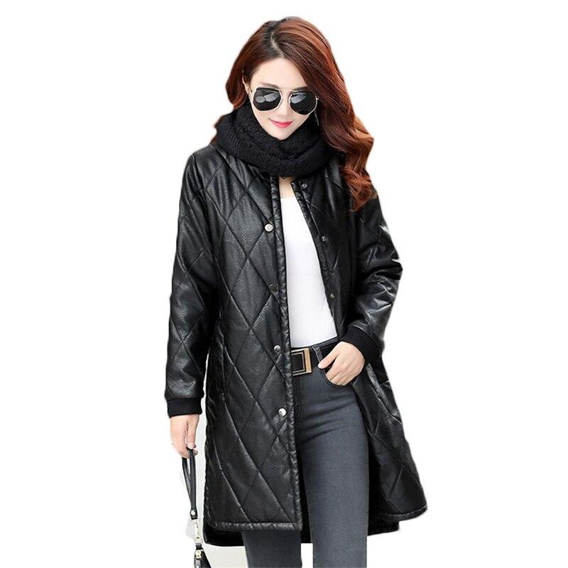 2018Fashion Plus Size 5XL Women's PU   Leather   Jackets Spring Autumn Women Single Breasted Long Windbreaker Faux   Leather   Coat A280