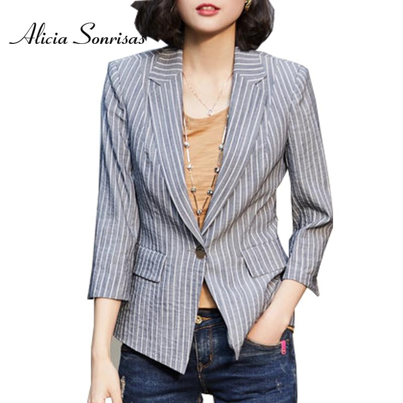 Stripe Blazer Suit Female Jacket New 2018 Spring Summer Small Retro OL One Button Khaki Grey S-3XL Plus Size Chaqueta Mujer