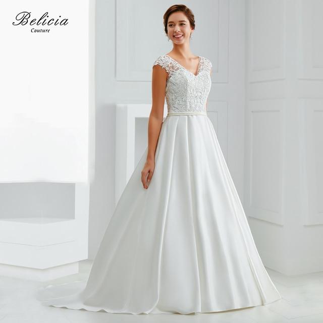 Belicia Couture Spitze V ausschnitt Plissee Spitze Brautkleid ...