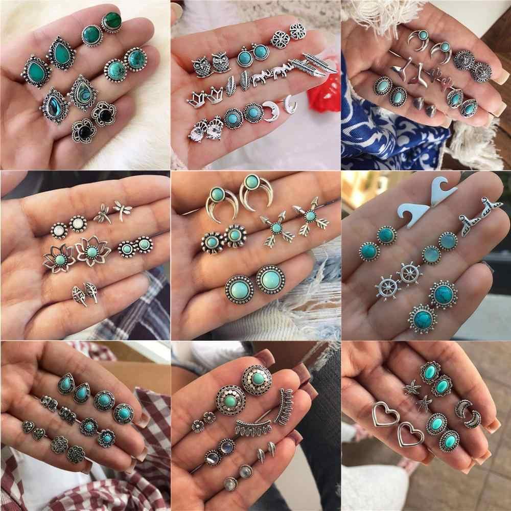 LETAPI винтажные Ретро Хрустальные Серьги для женщин букле D'oreille ювелирные изделия богемные серьги гвоздики набор зеленый камень модные ювелирные изделия