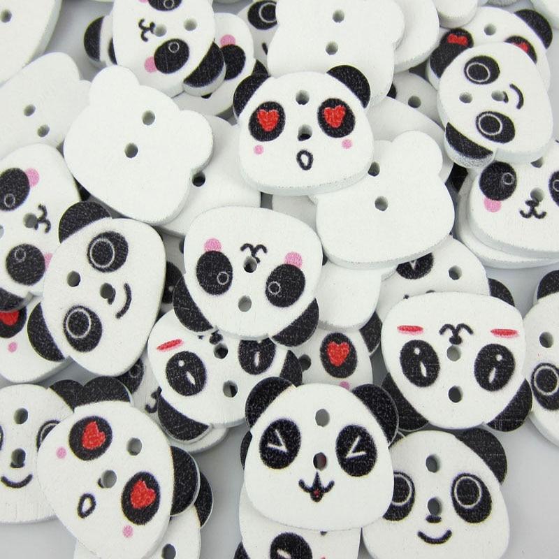 50 unids Panda mixta madera patrón Botones fit Costura scrapbooking ...