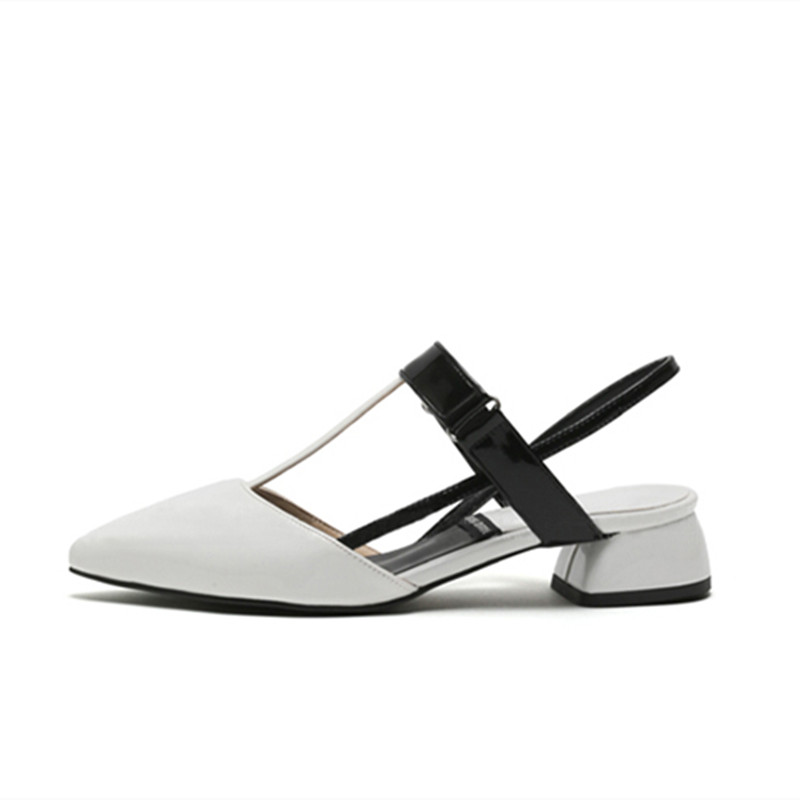 ФОТО Pointed toe low-heeled thick heel color block decoration female sandals small yards 30 31 32 33 plus size 40 41 42 43
