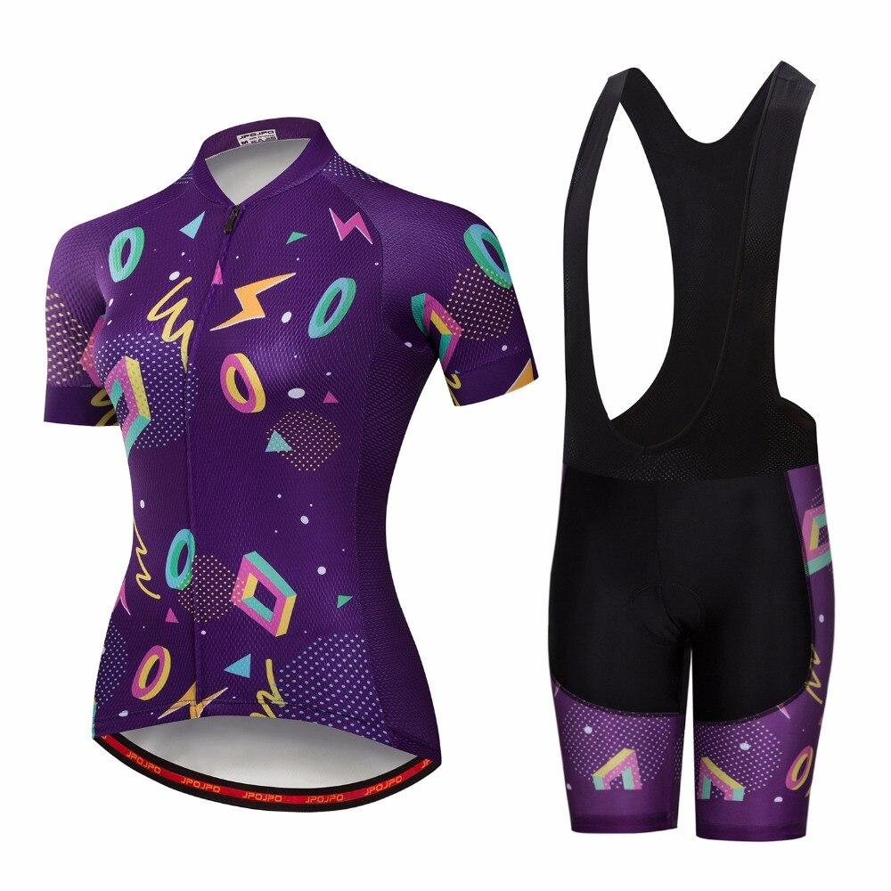 Фиолетовый Vélo Для женщин MTB велосипеда Велосипедная форма с коротким рукавом велосипед одежда Ropa Ciclismo Велоспорт рубашка bib Короткие компле...