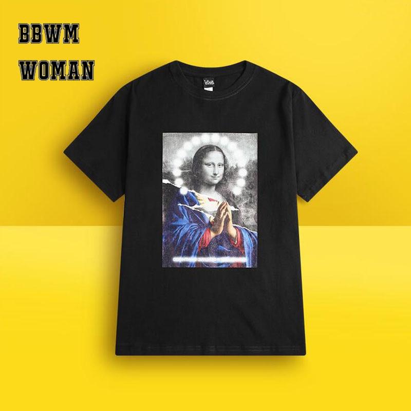 1f11fcd1e Japanese Retro Harajuku Spoof Mona Lisa Printing T Shirt Fashion Hiphop  Short Sleeve Women Tee ZO1688