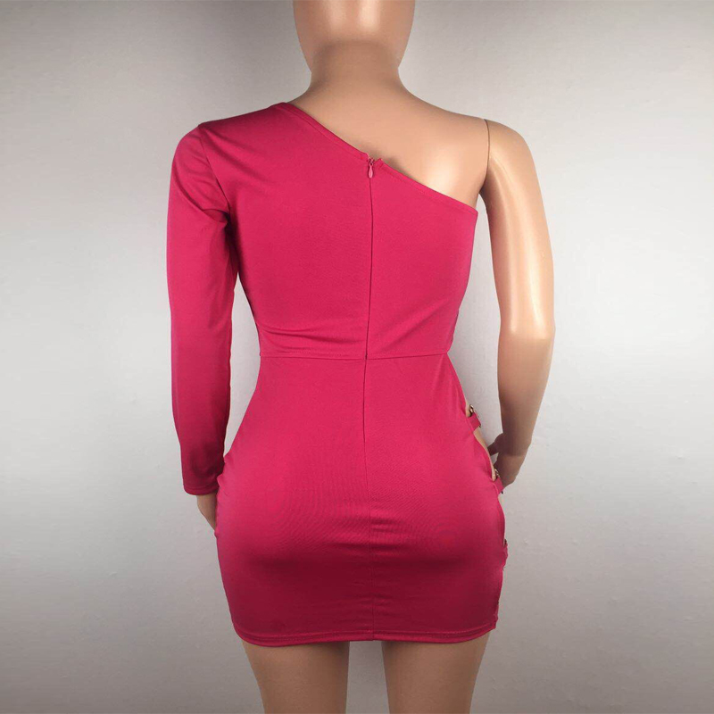 Fashion One Shoulder Dress 2019 Women Summer New Long Sleeve Hollow Out Tight Dresses Party Night Club Mini Sexy Tight Dress in Dresses from Women 39 s Clothing