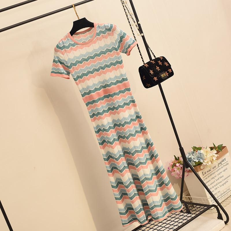 Été automne mi-mollet tricoté robe femmes nouveau Super fée vague rayé robe filles dames all-match Slim corps robes Nancylim