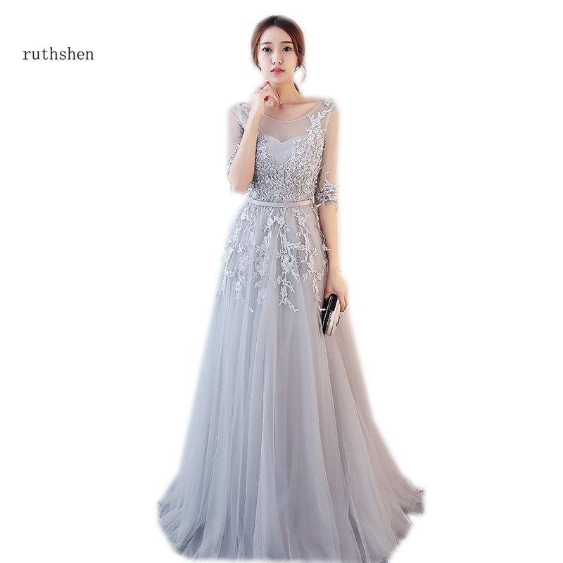 ruthshen Elegant A-line Silver   Prom     Dresses   Vestidos De Formatura Full Length With Half Sleeves Special Occasion Party Gowns