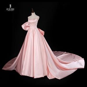 Image 2 - Chérie rose a ligne robe de soirée sans manches avec grand arc balayage Train Satin bretelles robe de bal robe de soirée 2019
