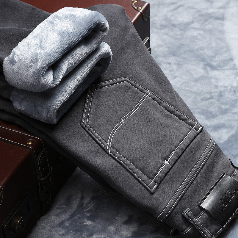 2019 Winter New Men Warm Gray Jeans High Quality Elasticity Thicken Skinny Plus Velvet Denim Pants Trousers Male Brand Clothes
