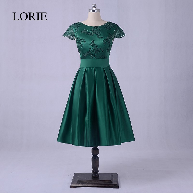 Emerald Green   Prom     Dresses   2018 LORIE Backless Elegant Women Evening Party   Dress   Knee Length Cap Short Sleeves Beading Top