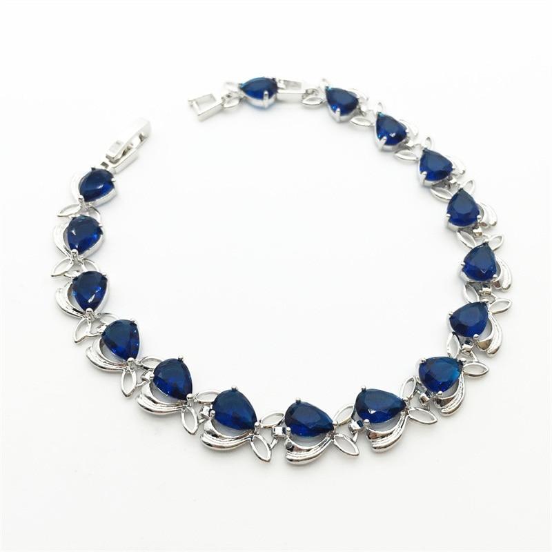 Bright Flower Shaped Sterling Silver Women Bracelets Water Drop Montana Blue Jewelry For Women Christmas Gift Free