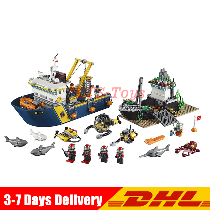 In Stock DHL Lepin 02012 774Pcs City Series Deep Sea Exploration Vessel Building Blocks Compatible 60095 Brick Toy a toy a dream lepin 24027 city series 3 in 1 building series american style house villa building blocks 4956 brick toys