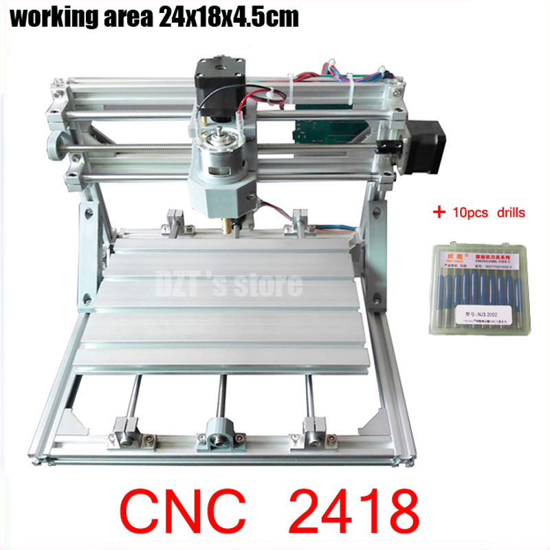 CNC 2418 GRBL control Diy CNC machine,working area 24x18x4.5cm,3 Axis Pcb Pvc Milling machine,Wood Router,Carving Engraver,v2.5 cnc 2418 with er11 cnc engraving machine pcb milling machine wood carving machine mini cnc router cnc2418 best advanced toys