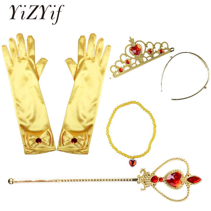 Belle Princess Cosplay Girls Dress Up Costume Accessories Gloves Tiara Wand Necklace Outfit Christmas Beauty and the Beast