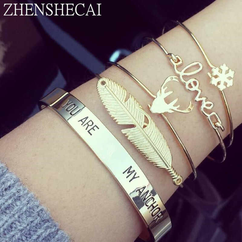4 Pcs/set Women bracelet Fashion Bohemian Retro Punk Leaves  Letter Snowflake Open Bracelet Party Wedding Accessories ns38