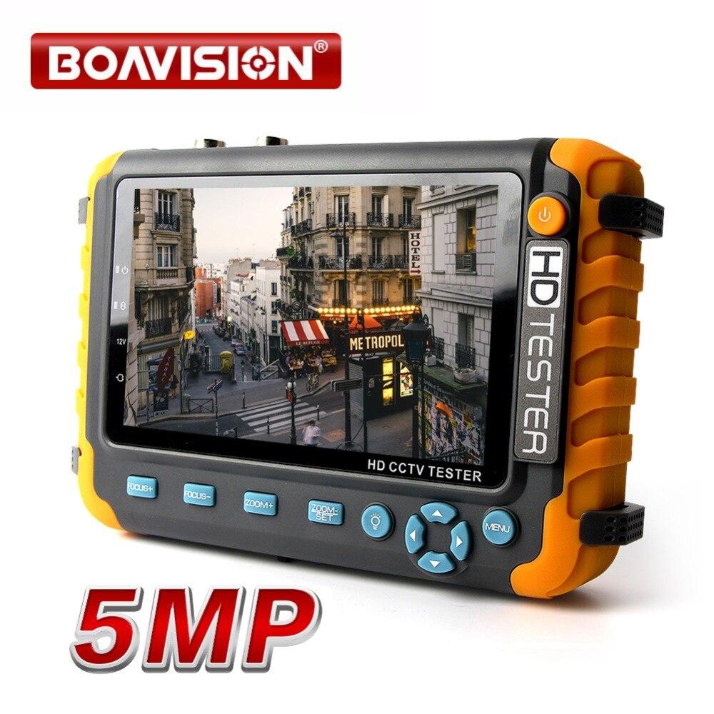 5MP CCTV Caméra de Sécurité Testeur Avec 5 Pouce TFT LCD Moniteur Pour 4 DANS 1 TVI AHD CVI Analogique de Sécurité Cam Testeur Vidéo Audio Test