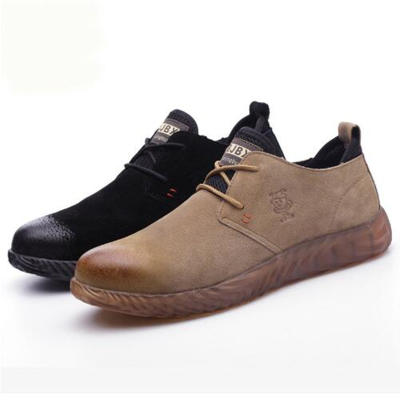 2019 Men's Breathable   Leather     Suede     leather   Steel Head Shoes Work Men's Cross Straps Anti-slip Safety Shoes