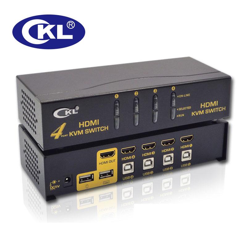 CKL USB HDMI KVM commutateur 4 ports sans câble, PC moniteur clavier souris commutateur prise en charge Hotkey Auto Scan 1080 P 3D CKL-94H