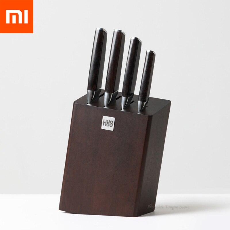 4pcs Xiaomi Mijia Huohou 50Cr15MoV facas de Cozinha Em Aço Inoxidável Faca Chef Profissional com Suporte