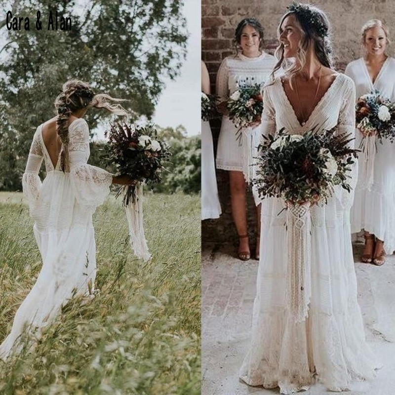 Garden Bohemian Wedding Dresses 2019 V Neck Long Sleeve Lace Sweep