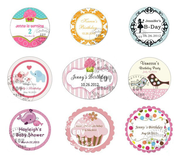 50PCS/LOT 5CM Diameter Customize Birthday/Gift Labels
