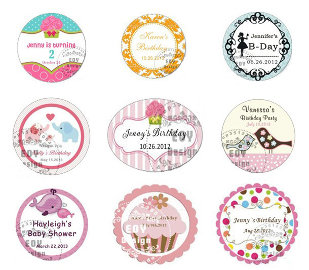 50pcs Lot 5cm Diameter Customize Birthday Gift Labels