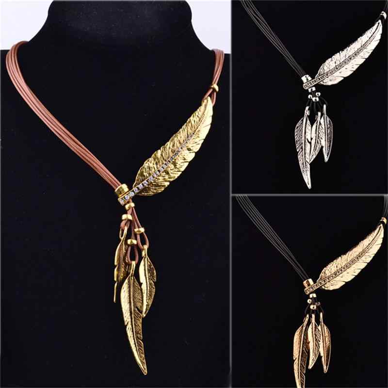 Fashion Collares Statement Necklace Bohemian Style Rope Chain Feather Pattern Pendant Necklace For Women Fine Jewelry