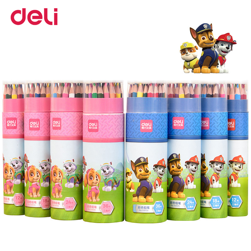 Deli 12/18/24/36 wood pastel colored pencil set for school kid drawing paw patrol office art supply improve imagine gift pencils