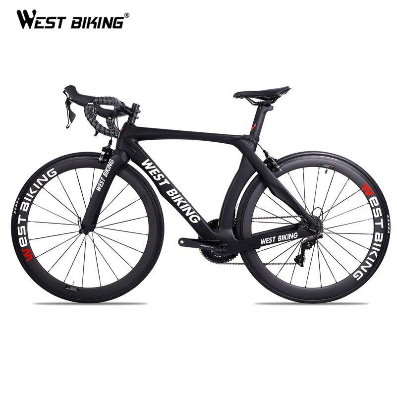 Vélo de route de course WEST Bike carbone 22 vitesses 700C avec pédales vélo avec vélo SHIMANO R7000 en Fiber de carbone noir Bicicleta