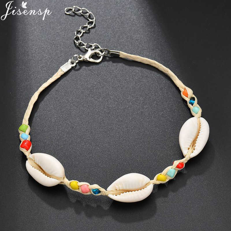 Jisensp Handmade Bohemian Shell Bead Rope Chain Bracelet Jewelry for Woman Girls Vintage Beach Shell Bracelet Party Gifts