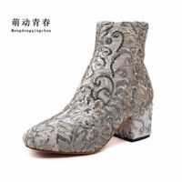 2017 Fashion Classic Women Ankle Boots Women Pumps Suede Boots Women Embroidery Print Boots Women Sequins