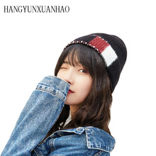 Women's Splice Hats Knitted Wool Autumn Winter Casual High Quality Brand New 2019 Hot Sale Hat Female Skullies Beanies hot sale hat female smiling brand casual fashion high quality knitted warm winter women cap men skullies beanies