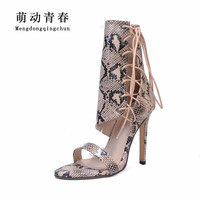 2018 New Spring Women Pumps Peep Toe Snake Print Thin Heel High Heels Shoes Lace Up Cross Tied Women High Heels shoes