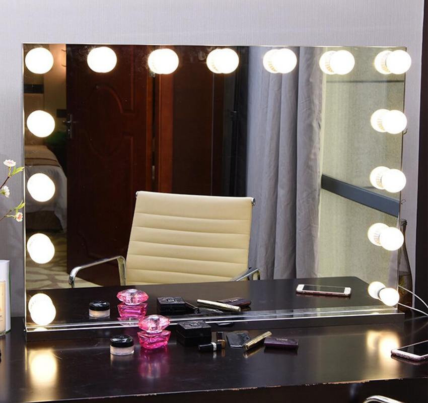Бескаркасное косметическое зеркало с светлым голливудским макияж освещенное зеркало регулируемое 3 цвета световое косметическое зеркало