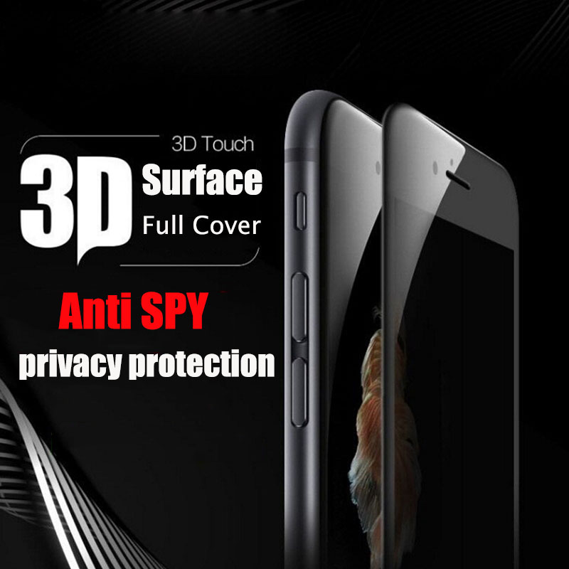 3D Surface Privacy Anti Spy Full Coverage Tempered Glass For iPhone 7 Plus Soft Edge Screen Protector Glass Film For iPhone 7